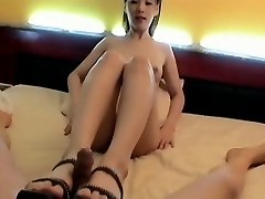 Korean Girl foot insert. Suck & Screw, Face cum
