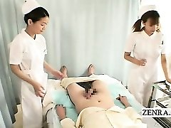 Subtitles CFNM two Asian nurses hand-job with cumshot