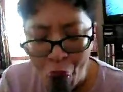 Chinese Milf deep-throat black cock many times