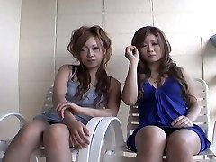 2 slutty Japanese gals Yurina Shiho and Hibiki Mahiru gives a short interview before screwing one another