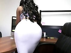 Bouncy ass ebony assistant and white cock