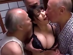 Huge-chested Slut Gang-fucked by Old Men to Internal Cumshot and Cum on Tits