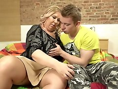 Old big-titted moms tempt young stupid sons