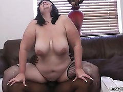 Chunky brunette salesgirl got all her sacred holes plugged with large black cock