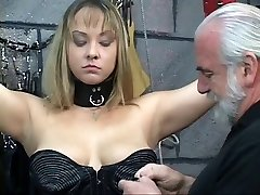 Corded BDSM whore gets nips pinched and rump examined by old man