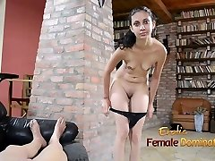 First time handjob given by an exotic dark eyed dame