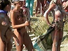Nymphs with painted bodies in Russian nudist beach