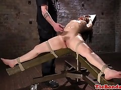 Sub strapped to chair for whipping by male domination