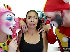 TwistedVisual.Com - Asian Cougar Gangbanged and Dual Penetrated by Clowns