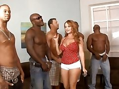 Five bi-racial guys lineup so that housewife Janet Mason can choose the best