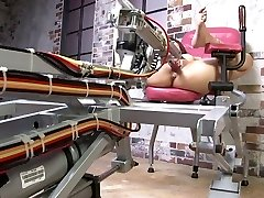 Petite Chinese dark-haired gets pounded by a fuck machine