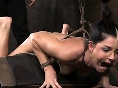 Frog tied bondage superslut in wax play