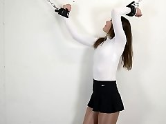 Rachel Adams Chained up in glossy pantyhose &leotard restrain bondage