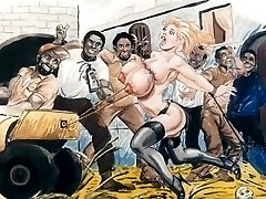 Subs in bondage bdsm cartoon art