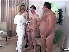 German MILF Nurse drill with Three Stranger at Pattern