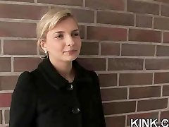 Buxomy waitress punished