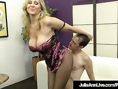 Femdom Milf Julia Ann Teases A Slave Dinky With Stockings!