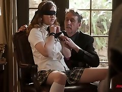 Blindfolded naughty coed chick Devon Green gets ass slapped and pussy poked