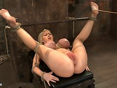 California Towheaded With Huge Globes Has Them Trussed To Her Knees  Spreadmade To Squirt  Scream - HogTied