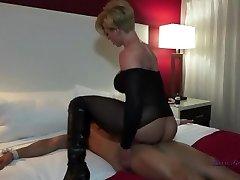 Blonde pummel handjob boots