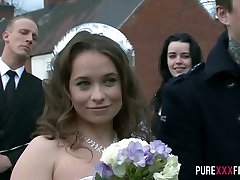 Horny bride Olga Cabaeva gets brutally screwed rear end after the ceremony