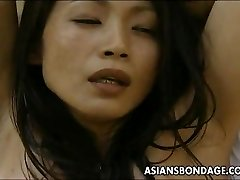 Chinese superslut roped up so the man can fuck her