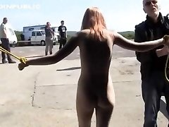 Corded naked in public and hosed down