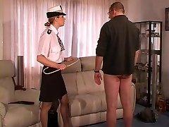 Female UK Police Officer Punishes and Lashes Guy