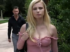 Sexy young blonde Carolina Sweets is strapped up and drilled by kinky violent dude