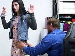 Shoplifting brunette Sadie Blake gets her mouth and pussy disciplined