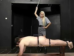Hard caning punishment by super-hot young blonde mistress