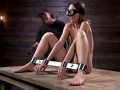 Newcomer is bound and tortured in device bondage