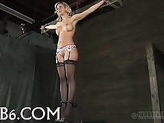 Tormenting babe's slit with toy