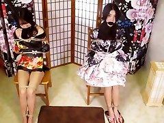 Yong chinese duo yukata strap bondage (柏芝陆公主的双人坐缚