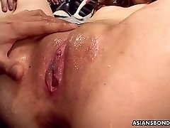 Ardent rather supple Japanese nympho Karin Yazawa gets lubed pussy teased