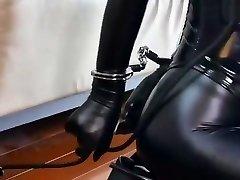 Bondage leather Submissive girl