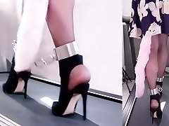 Chinese Chained Treadmill Walking in Heels