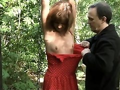 Teenager slave tied spanked and boned in the forest