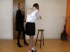 Very severe caning by classy gal to disobedient school girl