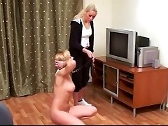 Special naked training for sexy blonde female