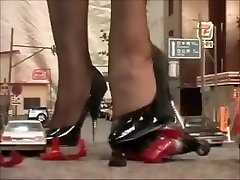 Japanese giantess dominatrix crushing city in heels and pantyhose