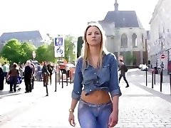 Hot Blonde wears a painted denim in public
