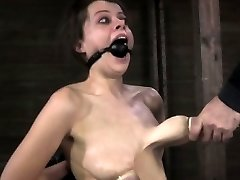 Nipple fellated bitch getting caned