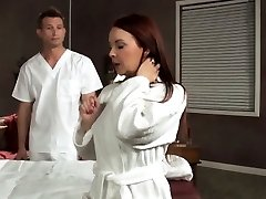 Cougar Janet Mason drilled on massage table