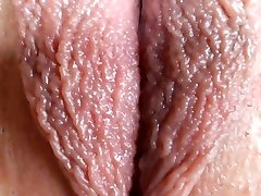 Extreme close-up vagina on webcam