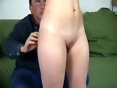 Innocent blondie gets punised and exposed by old educator