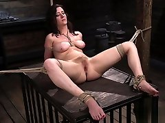 Natural huge tits slave gets genitals rope