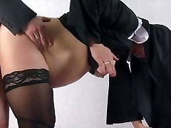 Preggie nun taken by surprise and fucked from behind