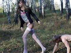 Skinny tall blonde teen dominates her serf