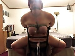 Bbw tied to chair made to have multiple  orgasms